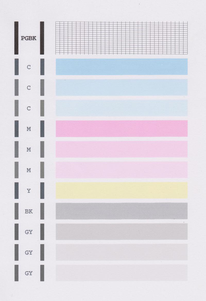 キャノンMG6130ノズルチェックパターン印刷